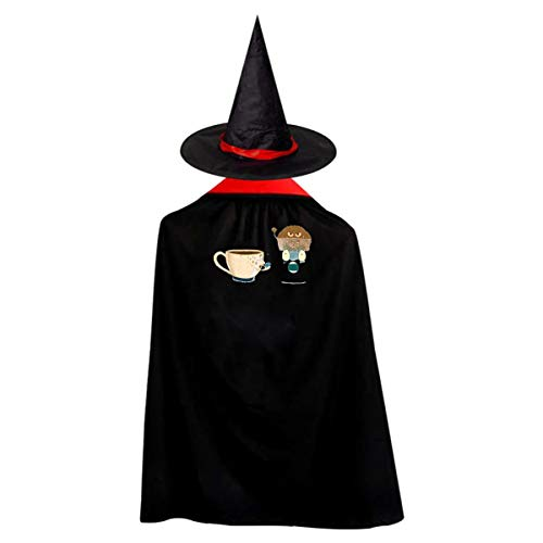 Mystery Donuts Children's Halloween Cloak Black Ponchos Cape With Wizard Hat Costume For Kids -