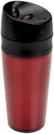 OXO Good Grips Plastic LiquiSeal Travel Mug, 13 Ounce, Textured Red