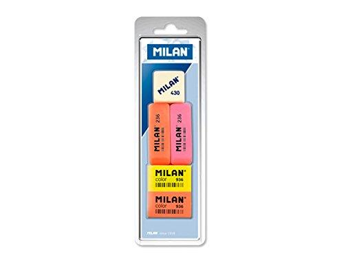 Blíster goma de borrar 430 + gomas de borrar plástico 2x236 y 2x936 Milan BVM97010