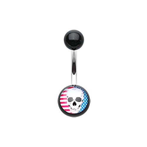Skull Americana Acrylic Logo Belly Button Ring - 14G (1.6mm) - Sold Individually (Logo Nose Skull)