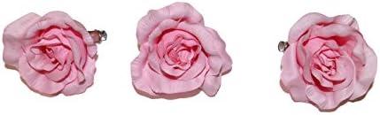 NUEVO * * X3 gran bebé Rosa Pastel rosa de tela en horquilla pelo ...