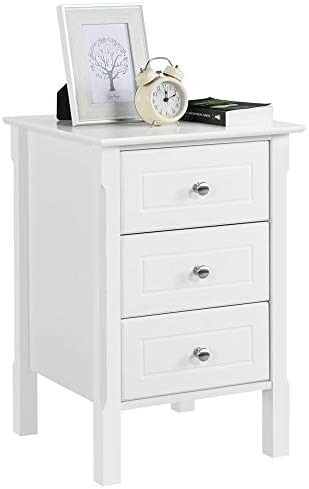 Kinbor Side End Table Nighstand with Drawer, Bedside End Table Bedroom Side Table, Modern Accent Table, Sturdy and Easy Assembly