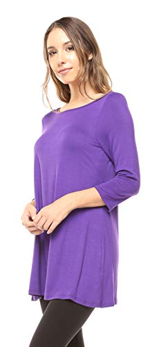 - Free to Live Women's Extra Long Flowy Elbow Sleeve Jersey Tunic Made in USA (3X, Purple)