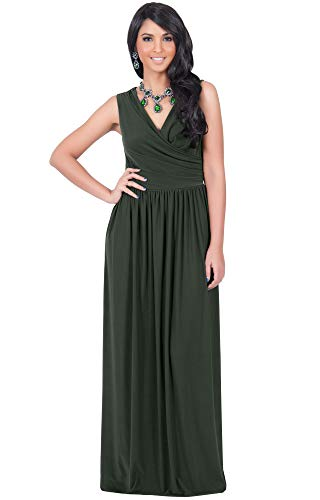 KOH KOH Plus Size Womens Long Sleeveless Sexy Summer Semi Formal Bridesmaid Wedding Guest Evening Sundress Sundresses Flowy Gown Gowns Maxi Dress Dresses, Olive Green XL 14-16