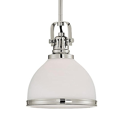 Langdon Mills 10613 Fenway Pendant Light, Polished Nickel with Frosted Glass Shade