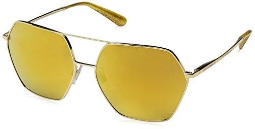 Dolce & Gabbana Women's Metal Woman Non-Polarized Iridium Square Sunglasses, Gold, 59 - Gabbana Flower And Dolce Gold Sunglasses