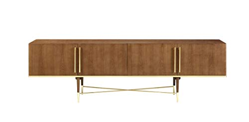 Limari Home LIM-75543 Palazzi Collection Mid-Century Style Veneer Finished Dining Room Buffet with Stainless Steel Accents, Handles & 4 Doors with Glass Shelves Inside Walnut & Gold