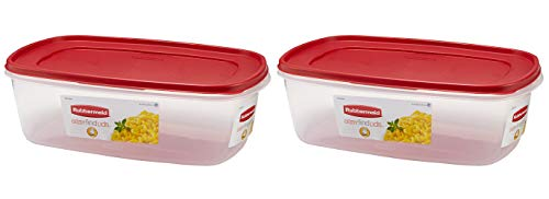 (Rubbermaid 669900232999 Easy Find Lid Square 2.5-Gallon Food Storage Container, Red 2-Pack, 40 Cup)