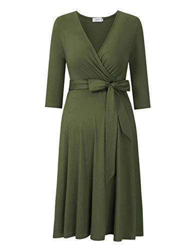 81ae14395c93 Coolmee Women's Wrap Maternity Dress Half Sleeve Empire Waist Midi Dress  with Belt