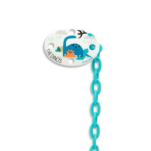 Suavinex Clip Porta Succhietto Ovale, Dinosauro, Blu 302608