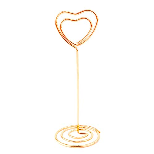 HsgbvictS 10Pcs Love Heart Table Number Card Holders Photo Picture Stand for Wedding Party Durable, Table Decor, Love Heart Shape, Spiral Base Rose Gold