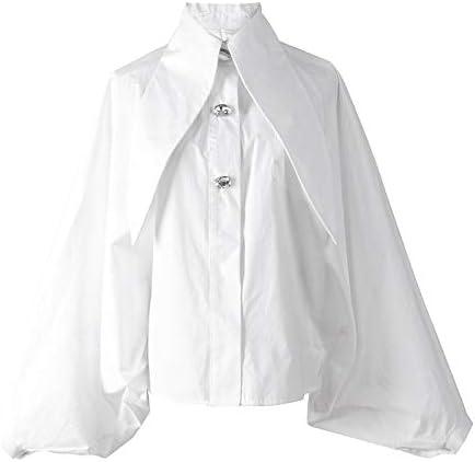 MKHDD Camisa de Manga de Farol Suelta Retro Camisa Larga con Cuello Alto Ocasional Blusa de Las Mujeres Camisas de Manga Blanca: Amazon.es: Deportes y aire libre