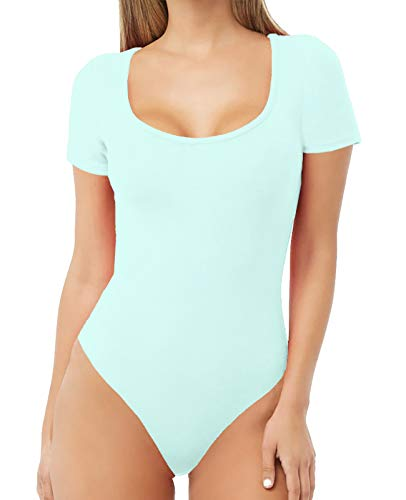 - MANGDIUP Women's Scoop Neck T Shirts Basic Bodysuits Jumpsuits (Mint Blue, L)