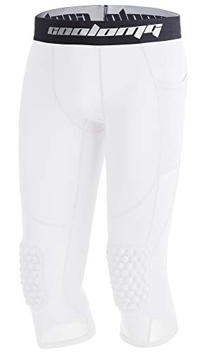 c09f31dc08 COOLOMG Basketball Pants with Knee Pads Kids 3/4 Compression