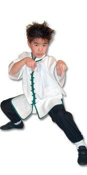 White Kungfu Uniform with Green Interloop Top(top only)