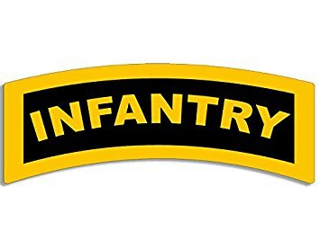 MAGNET Yellow INFANTRY Tab Shaped Magnet(army military) Size: 2.5 x 6 inch