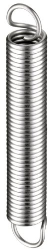 """Extension Spring, 302 Stainless Steel, Inch, 0.3"""" OD, 0.037"""" Wire Size, 1.12"""" Free Length, 1.82"""" Extended Length, 6 lbs Load Capacity, 7.83 lbs/in Spring Rate (Pack of 10)"""