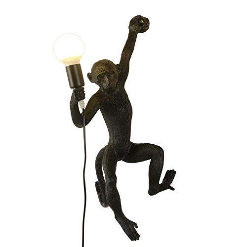 CLFINE Industrial Light Wall Lighting Fixture Vintage Resin Monkey Wall Lamp for Living Room Children's Kid's Bedroom Club Decoration(Black) (Lamp Monkey)