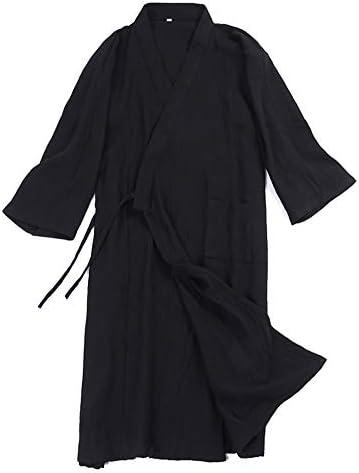 メンズバスローブ、男の衣着物パジャマロングナイトガウン綿のガウン男性の別の層,黒,M