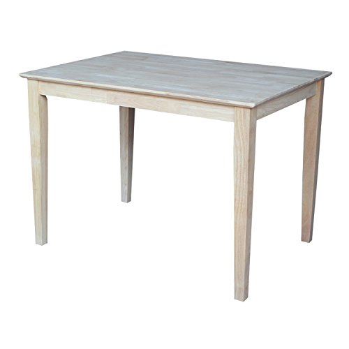 International Concepts Solid Wood Top Table with Shaker Legs, Standard Height - Butcher Block Table Chairs