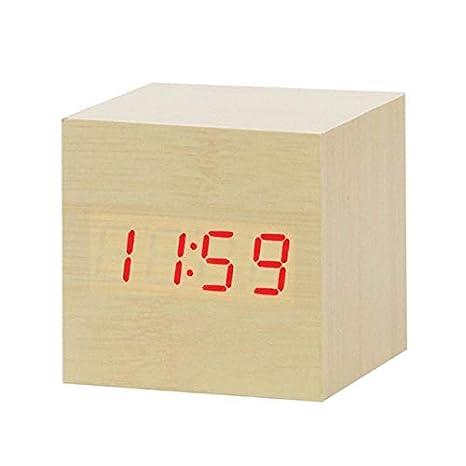 HUANGZHENYIN Led Despertador De Madera Reloj Reloj Mesa De ...