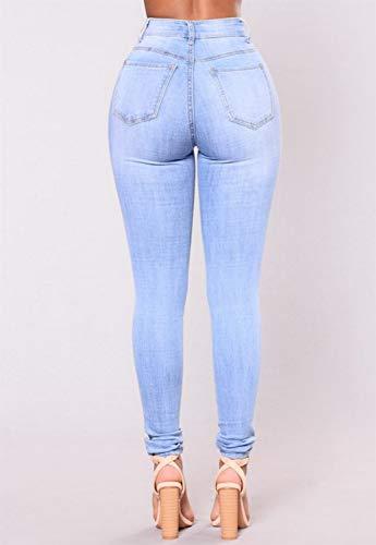 Taille de Femme dchir Jegging 003 dcontract Pantalon Jogging Haute Blue Skinny wzxqaX15U