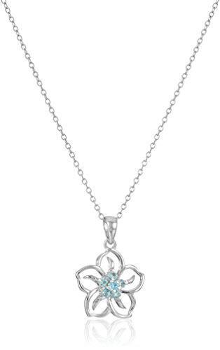 Sterling Silver Created Aquamarine Flower Pendant Necklace, 18
