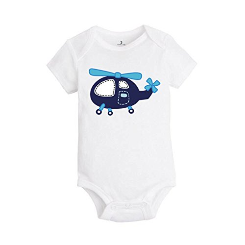 ALLAIBB Baby Boy Girl Romper Cartoon Patterns Animals and Vehicle Short Sleeves Size 18M (Helicopter) (Onesie Helicopter)