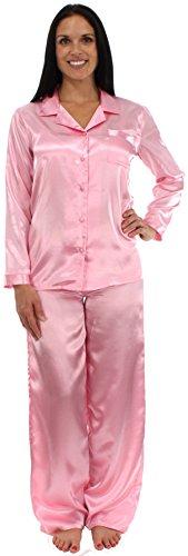 Pajama Heaven Light Pink Satin Long Sleeve Pajama - Small