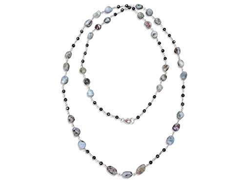 MGR Genuine Larimar and hematite Rosary Style Beaded Chain Wire Wrapping Long or Double Strand necklace.