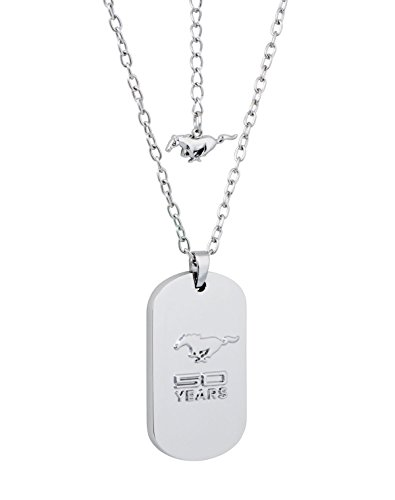 """(Show off your PONY PRIDE with this unique polished Brass dog-tag necklace showcasing the 50 YEARS of the iconic Mustang in 3D. Rhodium plated polished Brass. Cable chain 16 ½"""" with a 3 ¼"""
