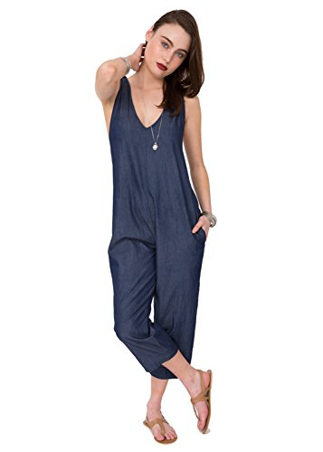 (likemary Summer Romper Racer Back Cropped Vacation Jumpsuit Denim Blue S/M)