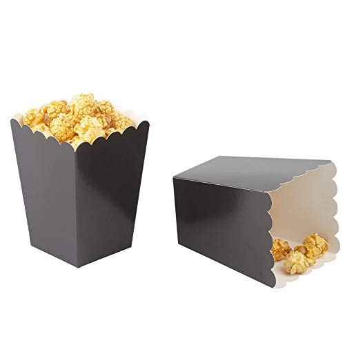 Large Popcorn Boxes (Black Popcorn Boxes Cardboard Container For Party Supplies,Pack of)