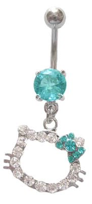 Hello Kitty Aqua lt blue Bow Cz Head dangle Belly navel Ring piercing bar body jewelry