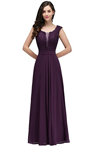 Women's Elegant Lace Cap Sleeve Evening Prom Party Long Maxi Dress Purple US16 (Sleeves Lace Applique)