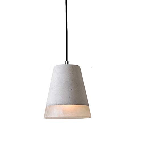 TopDeng Grey Concrete Creative Pendant Light, E26 Cement Hanging lamp with White Resin Light Fixture for Living Room Kitchen Island 19x20cm-B
