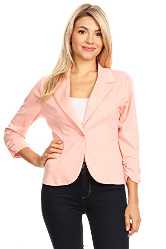 - Solid Basic Ruched Sleeve Buttoned Business Casual Blazer Jacket/Made in USA Peach XL