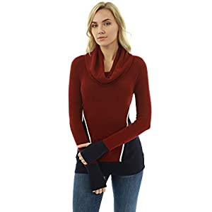 PattyBoutik Women Cowl Neck Color Block Thumb Hole Blouse (Burgundy and Navy Blue X-Small)