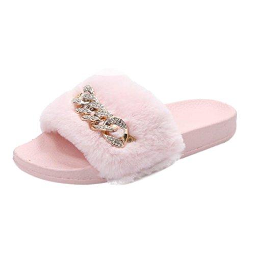 Gbsell Mode Dames Pluizig Bont Platte Pantoffel Sandalenhome Schoenen (6.5, Roze) Roze