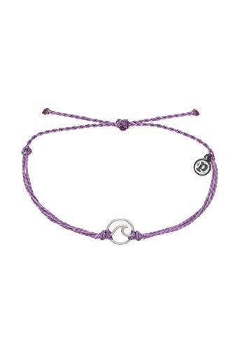 Pura Vida Silver Wave Bracelet w/Plated Charm - Adjustable Band, 100% Waterproof - Light Purple (Inspirational Jewelry Bracelet)