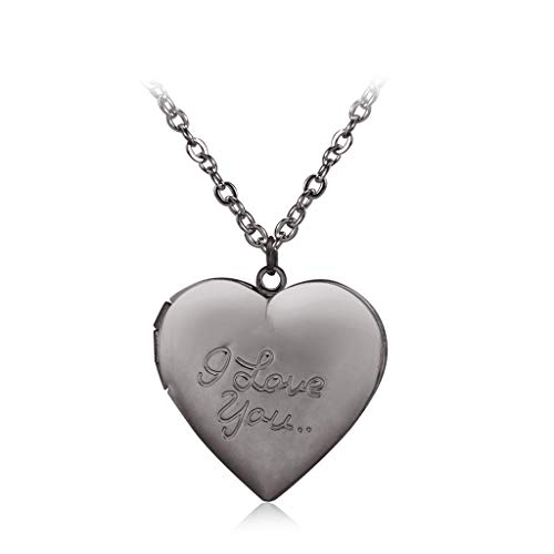 VIccoo Customized Heart-Shape I Love You Engraved Locket Necklace DIY Photo Box Jewelry - 38#