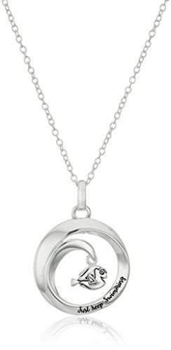 Disney Sterling Silver Wave with Dory Finding Nemo Just Keep Swimming Pendant Necklace, 16