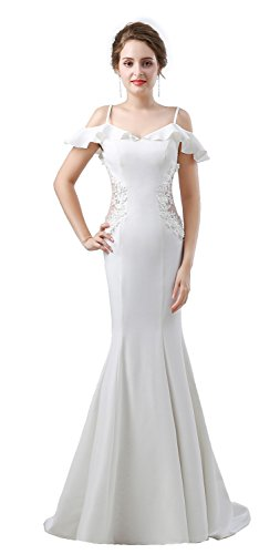 Onlyce Cold Shoulder Applique Mermaid Prom Dress Long Formal Evening