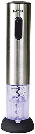 HAEGER LUCCA - Sacacorchos Recargable - Funciona con batería recargable - se enciende durante la carga y cuando toma el corcho, caja deluxe, accesorios: - corta sello de la botella - cargador