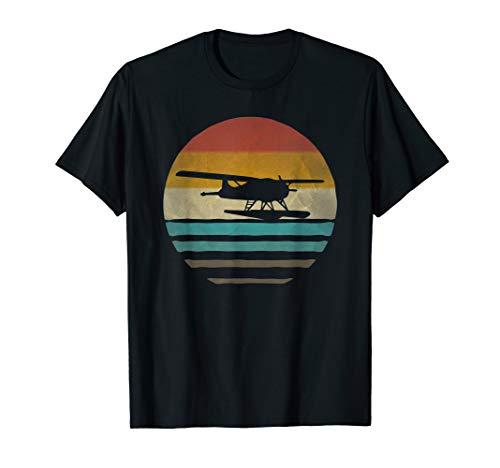 Retro Vintage Sunset Seaplane Airplane Pilot Cute Funny Gift T-Shirt (Airplane T-shirt Tee)