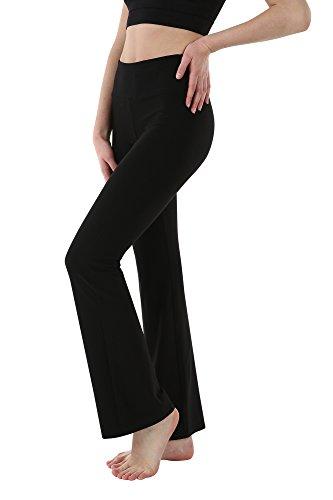 Stretch Bootleg Pant - THEOUTOF Women's Power Yoga Pants – Mid Bootleg Long WBL8517 Black Large – Control Shapewear with Streamlined Design Leggings Dance Studio School