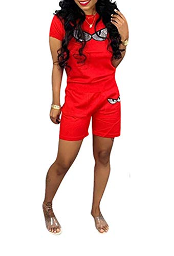 Remelon Women Short Sleeve Sequin Eyes Patchwork T Shirt Top Bodycon Pockets Shorts Set 2 Piece Romper Outfits Tracksuits Red L