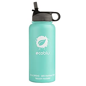 Ecoblu 32 oz Winter Wide Mouth Water Bottle with Straw Lid - Turquoise - Hydro Insulated Water Bottle