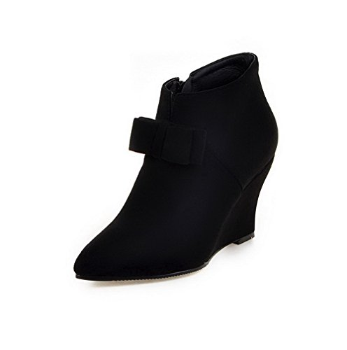 Suede Closed High Zipper Imitated WeiPoot Pointed Heels Women's Toe Solid Black Boots EWXwfqw8xg