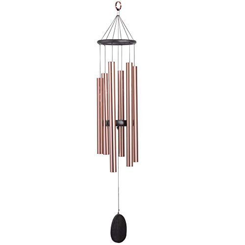 Chime Rod - WOODMUSIC Tuned Wind Chime - 6 Hollow Aluminum Metal Tubes Best Large Wood Windchime Deliver Rich, Full, Relaxing Tones - Amazing Grace for Outdoor Patio 34